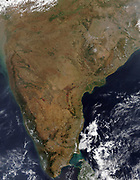 Satellite view over Indian peninsular. Sri Lanka is just visible under cloud at bottom right. Credit: NASA. Science Earth Geology Oceanography