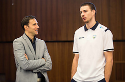 Gregor Humerca and Alen Pajenk during press conference of Slovenian Volleyball Federation before FIVB Volleyball World League tournament in Ljubljana, on May 5, 2016 in Hotel Spik, Gozd Martuljek, Slovenia. Photo by Vid Ponikvar / Sportida