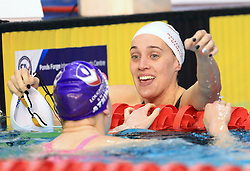 Alys Thomas (right) celebrates finishing second in the Women's Open 200m Butterfly with winner Charlotte Atkinson during day three of the 2017 British Swimming Championships at Ponds Forge, Sheffield.