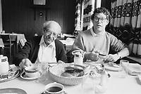 June 1991, Germany --- Al Franken and Father Having a Meal Together --- Image by © Owen Franken/Corbis