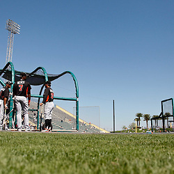March 26, 2012; Lakeland, FL, USA; A general view during batting practice for the Miami Marlins before a spring training game against the Detroit Tigers at Joker Marchant Stadium. Mandatory Credit: Derick E. Hingle-US PRESSWIRE