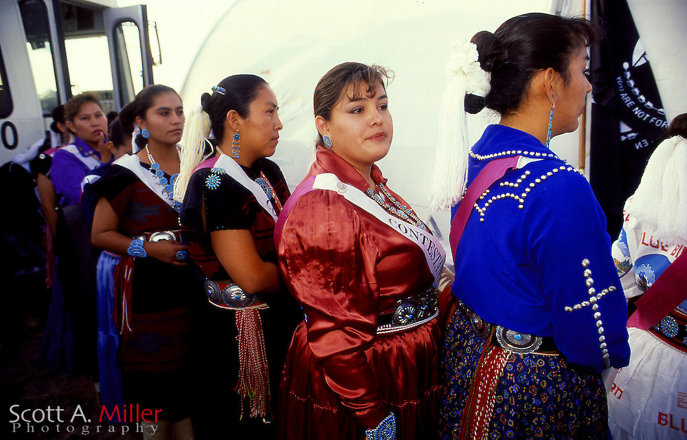Window Rock, Ariz.; 1992 --- Traditionally dressed Navajo women vying for the title of Miss Navajo during the Navajo Nationa Fair in Window Rock, Ariz., the capital of the Navajo Nation...Photo by Scott A. Miller