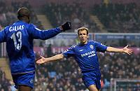 Photo: Glyn Thomas.<br />Aston Villa v Chelsea. Barclays Premiership. 01/02/2006.<br />Arjen Robben celebrates giving Chelsea a 1-0 lead.