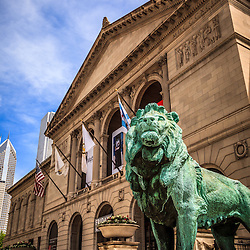 Art Institute of Chicago lion statue. The bronze lions are a popular Chicago attraction and one of Chicago's most recognizable symbols. Picture is high resolution and was taken in May 2010.