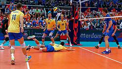 13-09-2019 NED: EC Volleyball 2019 Czech Republic - Ukraine, Rotterdam<br /> First round group D / Yurii Semeniuk #10 of Ukraine, Ian Iereshchenko #18 of Ukraine