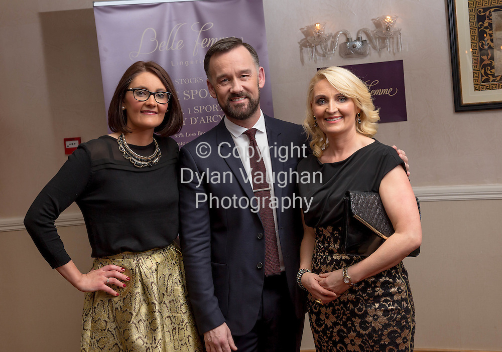 Repro free no charge for repro<br /> <br /> 27/11/14<br /> &lsquo;Get Fitted for Christmas&rsquo; with Belle Femme Lingerie and Brendan Courtney<br />  <br /> Belle Femme Lingerie Boutique hosted their &lsquo;Get Fitted for Christmas&rsquo; style evening with RTE&rsquo;s Brendan Courtney in a fun and festive lingerie showcase on Thursday, November 27th at the Rivercourt Hotel in Kilkenny City.<br /> <br /> Pictured at the event was Bridget Kearney, Brendan Courtney and Catherine Wall from Tipperary.<br />  <br /> Ladies were invited to come along and enjoy a glass of mulled wine, while taking in a fashion show of the latest designs in lingerie-wear for the festive season.<br />  <br /> Brendan Courtney of RTE&rsquo;s Off The Rails fashion programme hosted the event and offered guests advice and style tips on dressing to impress for Christmas party nights.<br />  <br /> Proprietor of Belle Femme Lingerie, Bridget Kearney was also available for lingerie fitting and there were several fitting rooms on site for those who wish to &lsquo;get fitted for Christmas&rsquo;!<br /> Picture Dylan Vaughan.
