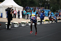 November 12, 2017 - Athens, Attica, Greece - Samuel Kalalei of Kenya enters the Panathenaic stadium and wins the 35th Athens Classic Marathon in Athens, Greece, November 12, 2017. (Credit Image: © Giorgos Georgiou/NurPhoto via ZUMA Press)