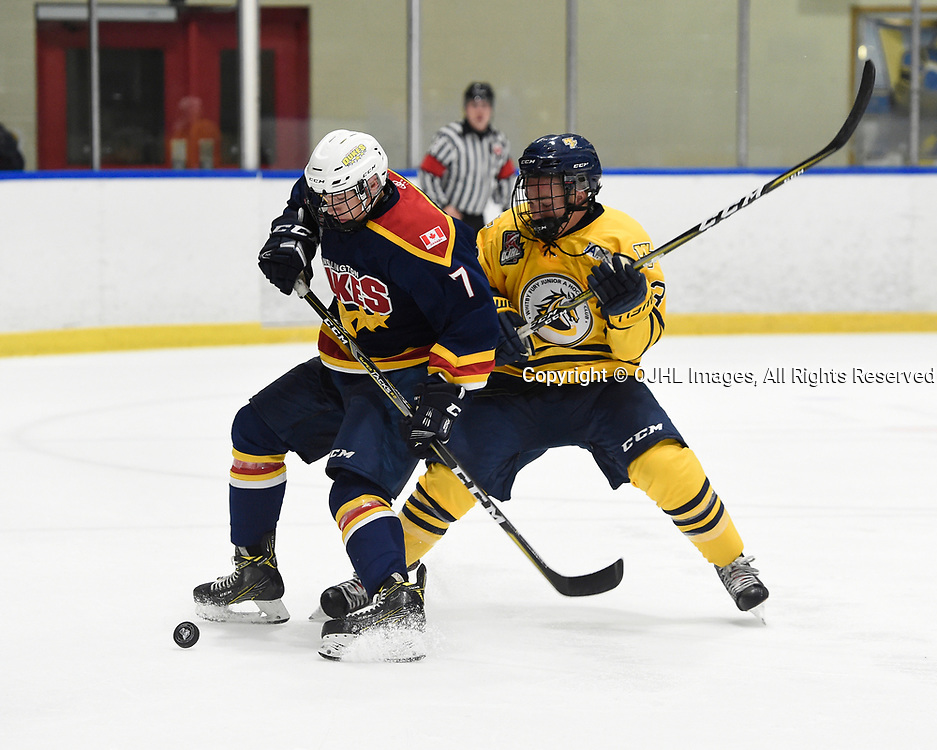WHITBY, ON  - SEP 24,  2017: Ontario Junior Hockey League game between the Whitby Fury and the Wellington Dukes, Zack Uens #7 of the Wellington Dukes battles for the puck with Nelson Powers #23 of the Wellington Dukes during the second period.<br /> (Photo by Andy Corneau / OJHL Images)