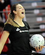 Irene Van Dyk warming up, during New World Netball Series, New Zealand Silver Ferns v England at The ILT Velodrome, Invercargill, New Zealand. Thursday 6 October 2011 . Photo: Richard Hood photosport.co.nz