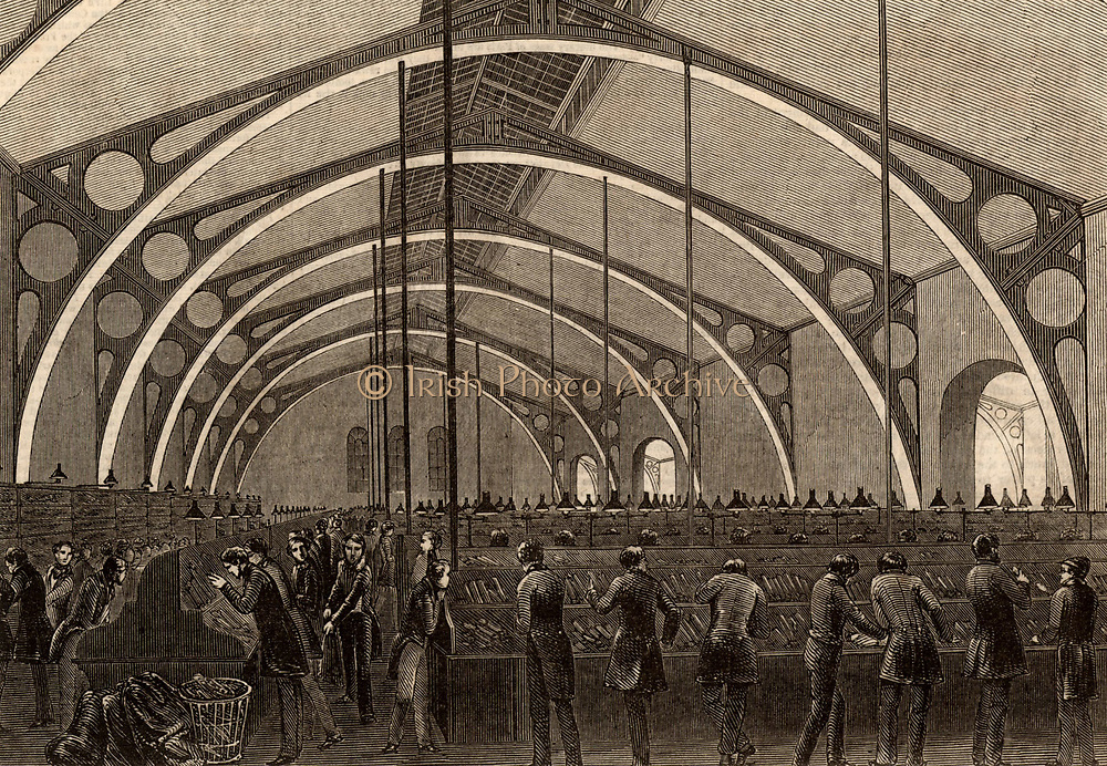Sorting room at the General Post Office, St Martin's-le-Grand, London, England. Engraving from 'The Illustrated London News' (London, 16 May 1846).