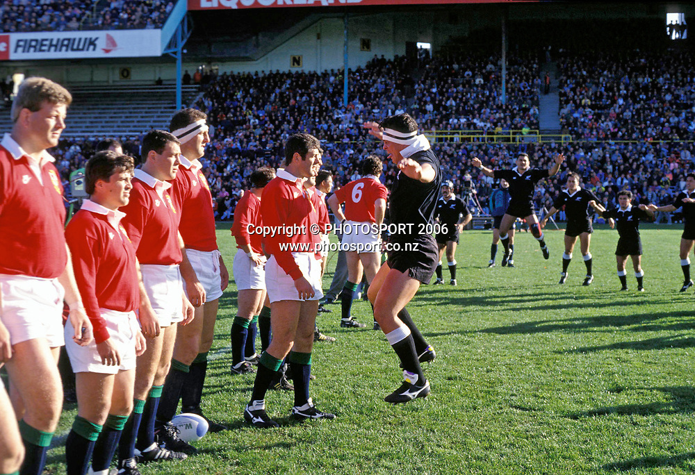 NZ Maori captain Aran Pene leads the haka during the 1993 British and Irish Lions tour to New Zealand. Photo: PHOTOSPORT<br /> New Zealand Maori v British &amp; Irish Lions at Wellington, 29 May 1993.