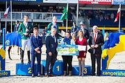Podium 6 Jarige 1. Gerard O'Neill - Columbcille Gipsy, 2. Harm Lahde - Oak Grove's Darshan, 3. Caroline de Laet - Halland van de Mispelaere<br /> FEI WBFSH World Breeding Jumping Championships for Young Horses 2017<br /> © DigiShots