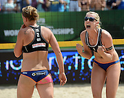 STARE JABLONKI POLAND - July 6: Karla Borger and Britta Buthe of Germany  in action during Day 6 of the FIVB Beach Volleyball World Championships on July 6, 2013 in Stare Jablonki Poland.  (Photo by Piotr Hawalej)