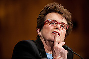 Former professional tennis player BILLIE JEAN KING testifies before a Senate Health, Education, Labor and Pensions Committee hearing on Capitol Hill Tuesday about the impact of Title IV forty years later.