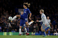 Ethan Ampadu of Chelsea controls the ball as he is chased by Tom Davies of Everton.<br /> EFL Carabao Cup 4th round match, Chelsea v Everton at Stamford Bridge in London on Wednesday 25th October 2017.<br /> pic by Kieran Clarke, Andrew Orchard sports photography.