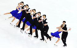 A multiple exposure picture of Kaitlyn Weaver and Andrew Poje of Canada perform during the Figure Skating Ice Dance Short Dance event at the Iceberg Palace during the Sochi 2014 Olympic Games in Sochi, Russia,16 February 2014.