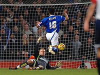 Photo: Ashley Pickering.<br />Ipswich Town v Colchester United. Coca Cola Championship. 20/01/2007.<br />Ipswich's Danny Haynes beat Colchester goalie Dean Gerken to score Ipswich's third goal (3-1)
