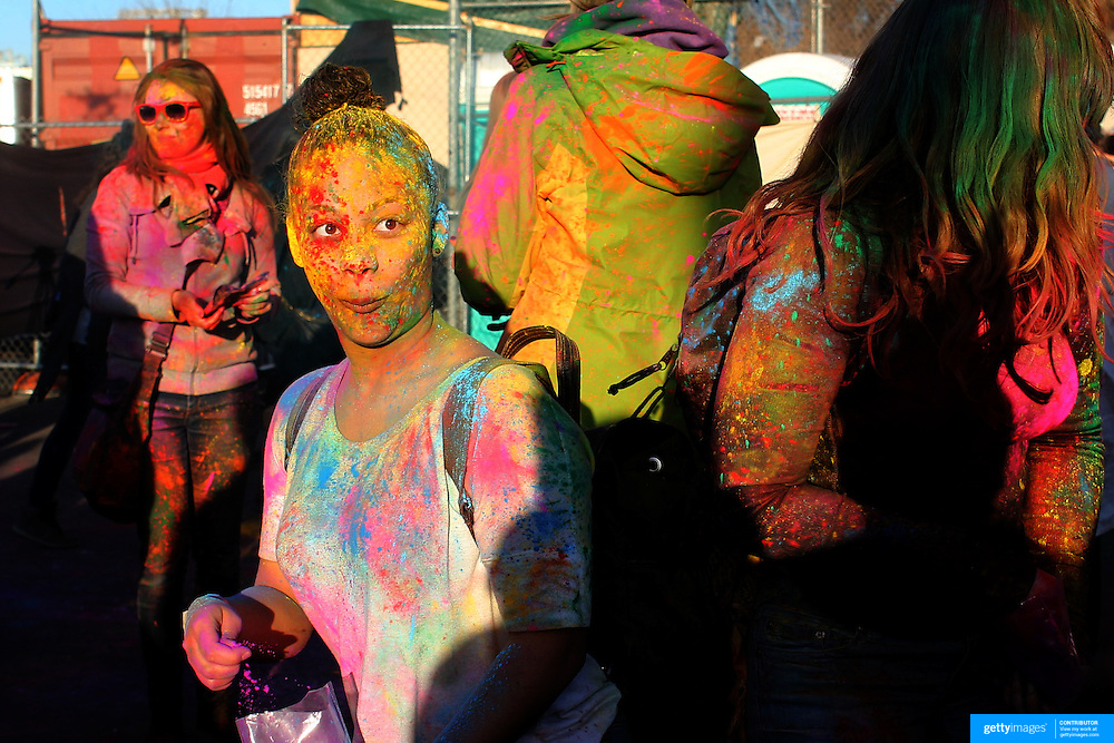 Participants during the Festival of Colors Holi NYC event at  C-PAC, Cultural Performing Arts Center, Brooklyn, New York. 6th April 2012. Photo Tim Clayton