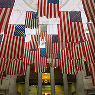 A Living Thing: Flag Exhange, an exhibition by artist Mel Ziegler at Federal Hall in lower Manhattan. Ziegler traveled through all 50 states and replaced distressed American Flags flying at civic and private locations with new flags. These old flags now form a powerful art installation, symbolic maybe of the state of this nation.