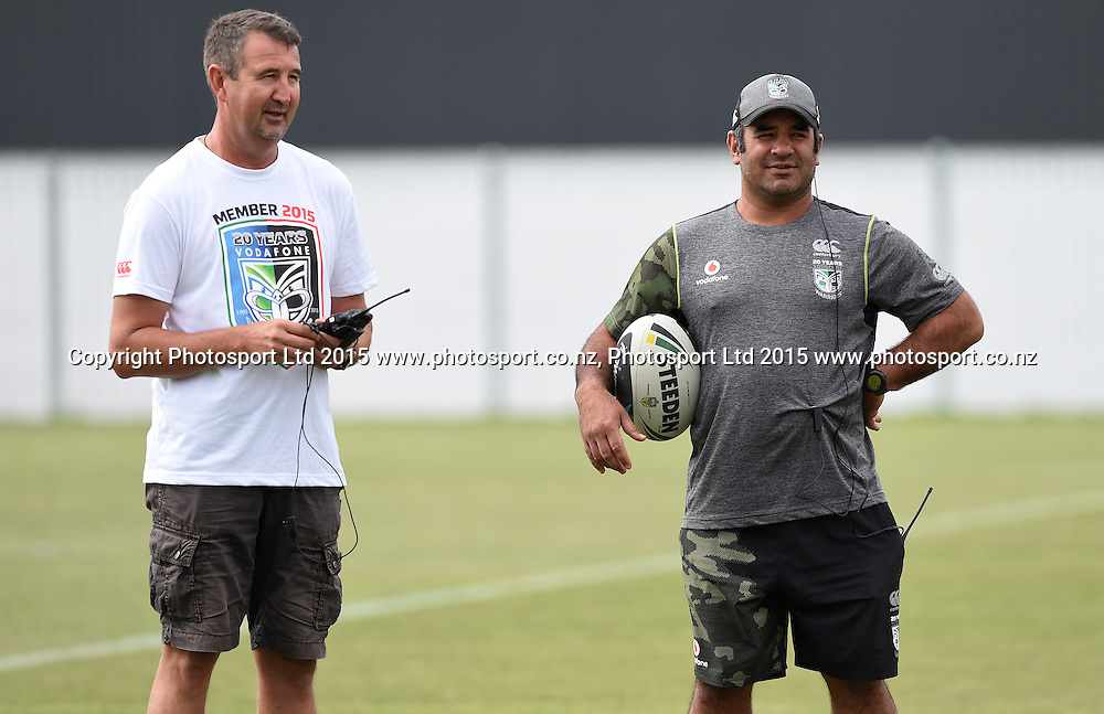 Laurie Hale and Stacey Jones (R) during a Vodafone Warriors NRL rugby league training session. Mt Smart Stadium, Auckland. 22 January 2015. Copyright Photo: Andrew Cornaga/www.photosport.co.nz