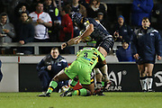 Jamal Ford-Robinson tackles Jono Ross during the Aviva Premiership match between Sale Sharks and Northampton Saints at the AJ Bell Stadium, Eccles, United Kingdom on 25 November 2017. Photo by George Franks.