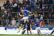 Carlisle United Defender Mark Ellis jumps for the ball during the Sky Bet League 2 match between Carlisle United and Oxford United at Brunton Park, Carlisle, England on 30 April 2016. Photo by Craig McAllister.