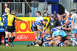 Henry Thomas of Bath Rugby celebrates Francois Louw's vital turn-over late in the game - Photo mandatory by-line: Patrick Khachfe/JMP - Mobile: 07966 386802 25/01/2015 - SPORT - RUGBY UNION - Bath - The Recreation Ground - Bath Rugby v Glasgow Warriors - European Rugby Champions Cup