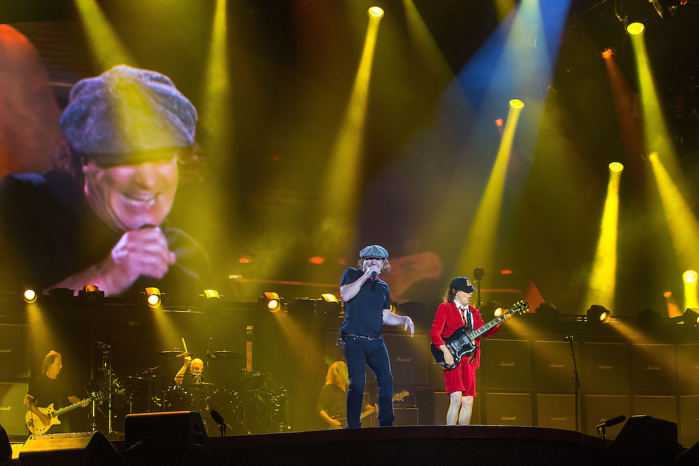 Brian Johnson, left, Angus Young, AC/DC Rock or Bust tour, Western Springs, Auckland, New Zealand, Tuesday, December 15, 2015.   Credit: SNPA / David Rowland