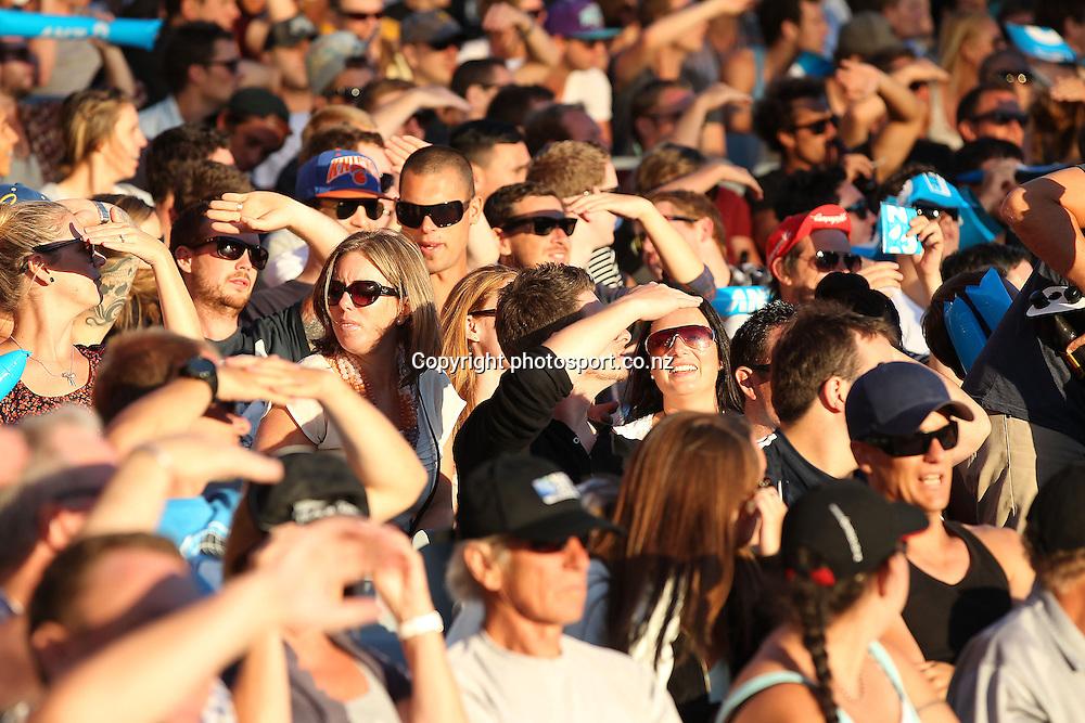 Fans enjoy the sunshine during the ANZ T20 Series, NZ V England, Eden Park, 9 February 2013. Photo: Fiona Goodall/photosport.co.nz