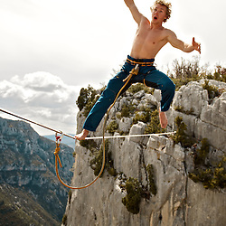 Salewa ambassador, Mich Kemeter, going for a leash test fall at the end of a 40m highline, 200m high, rigged in the Sordidon sector of Verdon Gorges, France...2012 © Pedro Pimentel