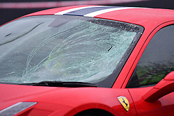 © Licensed to London News Pictures. 12/12/2016. London, UK. Damage to the windscreen of the car. The scene where six people  have been rushed to hospital after a Ferrari sports car ploughed in to a group of pedestrians in Battersea, South London. Photo credit: Ben Cawthra/LNP