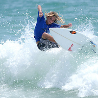 Nash Connor surfs Sunday July 13, 2014 during the 9th Annual O'Neil/Sweetwater Pro-Am Surf Fest at Wrightsville Beach, N.C. (Jason A. Frizzelle)