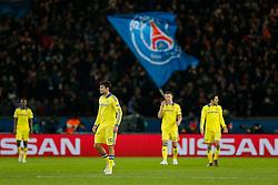 Diego Costa of Chelsea and his teammates look dejected after Edinson Cavani of Paris Saint-Germain scores a goal to level at 1-1 - Photo mandatory by-line: Rogan Thomson/JMP - 07966 386802 - 17/02/2015 - SPORT - FOOTBALL - Paris, France - Parc des Princes - Paris Saint-Germain v Chelsea - UEFA Champions League, Last 16, First Leg.