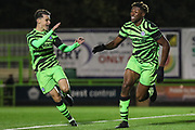 Forest Green Rovers Destiny Oladipo(39) scores a goal 1-0 and celebrates during the FA Youth Cup match between Forest Green Rovers and Helston Athletic at the New Lawn, Forest Green, United Kingdom on 29 October 2019.