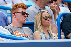 August 19, 2018 - Cincinnati, OH, U.S. - CINCINNATI, OH - AUGUST 19: Andy Dalton, quarterback of the Cincinnati Bengals, watches the match between Simona Halep of Romania (not pictured) and Kiki Bertens of the Netherlands (not pictured) during the Western & Southern Open singles final at the Lindner Family Tennis Center in Mason, Ohio on August 19, 2018. (Photo by Adam Lacy/Icon Sportswire) (Credit Image: © Adam Lacy/Icon SMI via ZUMA Press)