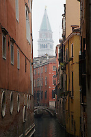 Italy Venice canal and bell tower