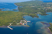 Aerial view of Washington Island, Door County, Wisconsin.