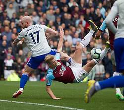 Ben Mee of Burnley (C) attempts an overhead kick - Mandatory by-line: Jack Phillips/JMP - 13/04/2019 - FOOTBALL - Turf Moor - Burnley, England - Burnley v Cardiff City - English Premier League