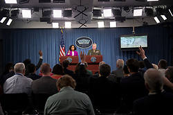 April 14, 2018 - Washington, District of Columbia, U.S. - DANA WHITE, the assistant to the secretary of defense for public affairs, and Lt. Gen. KENNETH F. MCKENZIE, the Joint Staff director, brief the press regarding American operations in Syrian at the Pentagon in Washington. (Credit Image: ? USAF/ZUMA Wire/ZUMAPRESS.com)