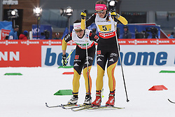 28.02.2013, Langlaufstadion, Lago di Tesero, ITA, FIS Weltmeisterschaften Ski Nordisch, Langlauf Damen, 4x5 Km, im Bild Katrin Zeller (GER) // Katrin Zeller of Germany and Miriam Goessner (GER) // Miriam Goessner of Germany during the Ladies 4x5 km Relay Cross Country  of the FIS Nordic Ski World Championships 2013 at the Cross Country Stadium, Lago di Tesero, Italy on 2013/02/28. EXPA Pictures  ©  2013, PhotoCredit: EXPA/ Federico Modica