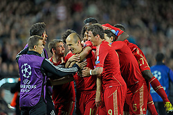 01.05.2013, Fussball Champions League Halbfinale Rückspiel: FC Barcelona - FC Bayern München, im Stadion Nou Camp in Barcelona, Spanien. Arjen Robben (Bayern München) Torjubel.