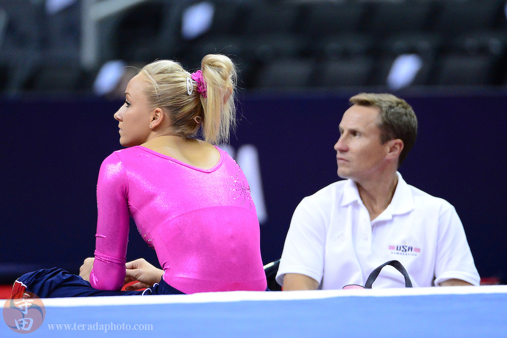 June 29, 2012; San Jose, CA, USA; Nastia Liukin (left) and coach Valeri Liukin (right) during the 2012 USA Gymnastics Olympic Team Trials at HP Pavilion.