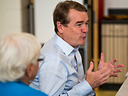 05 SEPTEMBER 2019 - DES MOINES, IOWA: US Senator MICHAEL BENNET (D-CO) listens to teachers and staff at Jesse Franklin Taylor Education Center during an education roundtable he hosted in Des Moines. Sen. Bennet is running for the Democratic nomination for the US Presidency in the 2020 election. Iowa traditionally hosts the the first election event of the presidential election cycle. The Iowa Caucuses will be on Feb. 3, 2020.              PHOTO BY JACK KURTZ