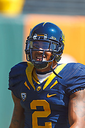 September 17, 2011; San Francisco, CA, USA;  California Golden Bears defensive back Marc Anthony (2) warms up before the game against the Presbyterian Blue Hose at AT&T Park.  California defeated Presbyterian 63-12.