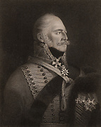 Ernest Augustus, Duke of Cumberland and King of Hanover (1771-1851), Fifth son of George III of Great Britain. On the death of William IV, Victoria succeeded in Britain but the Hanoverian succession was subject to Salic Law.  As William IV's male heir, he became king of Hanover as Ernest Augustus I. Engraving.