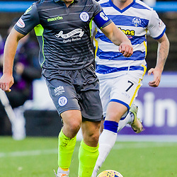 John Rankin (8) of Queen of the South breaks away from Gary Oliver (7) of Greenock Morton during the Ladbrokes Scottish Championship game between Greenock Morton and Queen of the South at Cappielow Park on 4th November 2017 in Greenock, Scotland.   (c) BERNIE CLARK | SportPix.org.uk