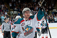 KELOWNA, CANADA - MARCH 28: Marek Tvrdon #17 of the Kelowna Rockets celebrates a goal against the Tri-City Americans during game 5 of the first round of WHL playoffs on March 28, 2014 at Prospera Place in Kelowna, British Columbia, Canada.   (Photo by Marissa Baecker/Shoot the Breeze)  *** Local Caption *** Marek Tvrdon;