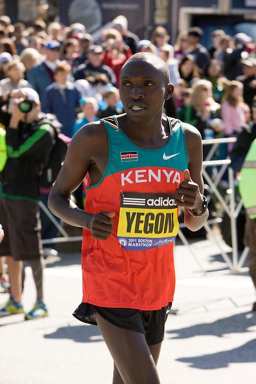 Gilbert Yegon warms up