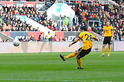 Joao Moutinho (28) of Wolverhampton Wanderers shoots at goal from a free kick during the The FA Cup 5th round match between Bristol City and Wolverhampton Wanderers at Ashton Gate, Bristol, England on 17 February 2019.