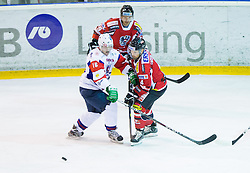 Ales Music of Slovenia vs Gerhard Unterluggauer of Austria during Friendly Ice-hockey match between National teams of Slovenia and Austria on April 19, 2013 in Ice Arena Tabor, Maribor, Slovenia. (Photo By Vid Ponikvar / Sportida)